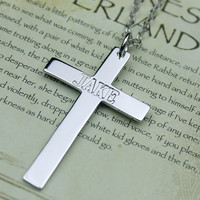 Cross Necklace - Engraved Cross Necklace - Engraved Necklace - Sterling Silver Personalized Necklace(Any letter)