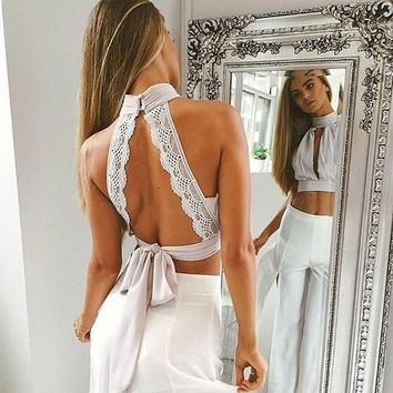 Backless Lace Strappy Vest Tank Top Camisole