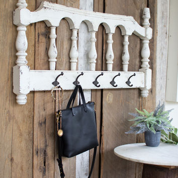 Wooden Railing with 5 Metal Coat Hooks