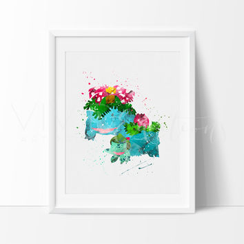 Bulbasaur, Ivysaur & Venusaur, Pokemon Evolution Watercolor Art Print
