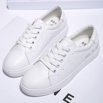 White Pu Korean Style Breathable Simple Lace Up Flat Sport Casual Shoes