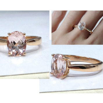 Custom made 6x8mm Oval Cut Gemstone Engagement Ring 14K Rose/White/Yellow Gold!Diamond Wedding Bridal band,Solitaire Ring,Promise Ring