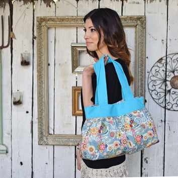 Shoulder bag, handbag, cotton, fabric purse, floral, spring, summer, blue LAST ONE