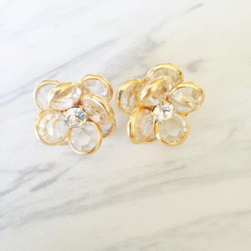 Vintage Glass and Crystal Cluster Earrings | Crystal Flower Earrings