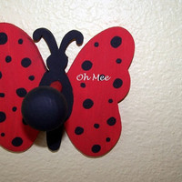 Hand Painted Polka Dot Butterfly Ladybug Wall Hook by OhMeeToo