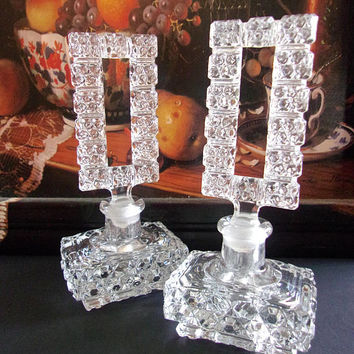 Pressed Clear Cut Glass Perfume Bottle Set in Art Deco, Tall Rectangle Stopper, Vintage