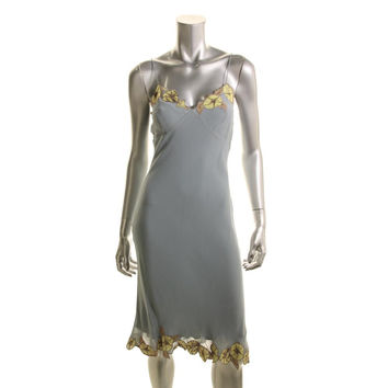 Catherine Malandrino Womens Silk Embroidered Slip Dress