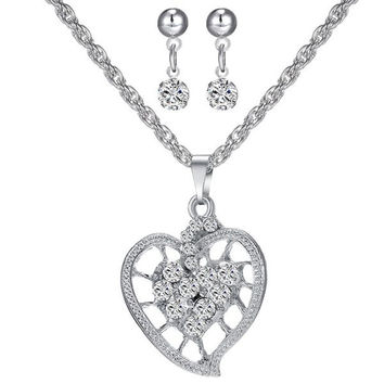 A Suit of  Rhinestone Hollowed Heart Necklace and Earrings