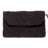 Textured Fuzzy Black Fold Over Clutch