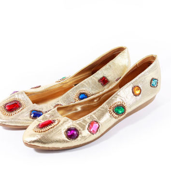 80s Vintage Bejeweled Gold Metallic Ballet Flats Vegan Leather Shiny Colorful Retro Glam Loafers Shoes Womens Size US 10 UK 8 EUR 40-41