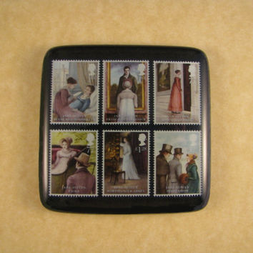 Austen Paperweight, Jane Austen, English Book Stamps, Square Glass Tile, Austen Book Stamps, Regency Paperweight, Desk Accessory