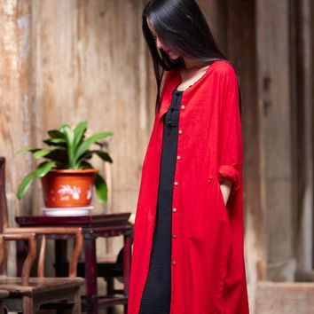 Trendy Spring Summer Cotton And Linen Original Chinese Style Vintage Solid Color Women Long Jacket AT_94_13