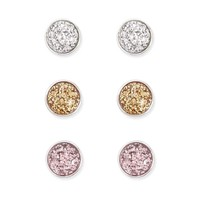 Glitter Dome Stud Earring Set