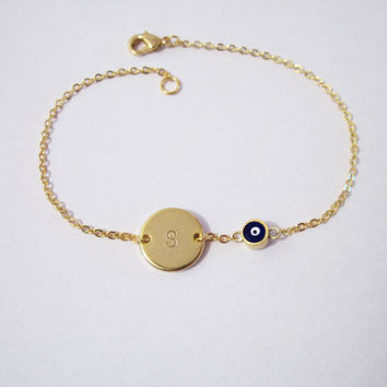 Initial Evil Eye Bracelet / Disk and Evil Eye Bracelet / Personalized Jewelry / Customized Talisman Bracelet /  B431