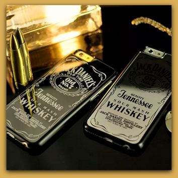 "Luxury Brand Daniels Whiskey Daniel Hard Silver or Black Chrome Mirror iPhone 5, 5s, 6, 6s, 6 Plus Phone Case ""FREE SHIPPING"""