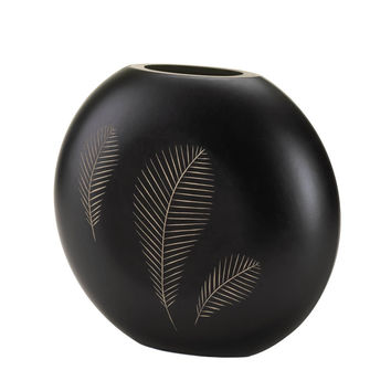 Decorative Vases Home Accents, Black Flower Vase - Made Of Wood