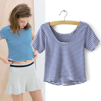 Women's Fashion Backless Twisted Stripes Short Sleeve T-shirts [6047516673]