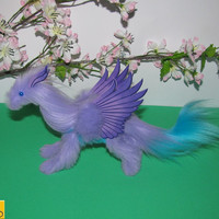 dragon posable doll lilac turquoise fantasy pet miniature faux fur handmade plush angel wings Jerseydays