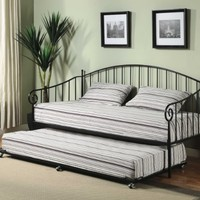 Matt Black Metal Twin Size Day Bed (Daybed) Frame with Trundle