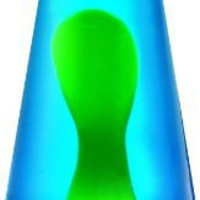 Lava Lite 2124 14.5-Inch Classic Silver-Based Lava Lamp, Yellow Wax/Blue Liquid