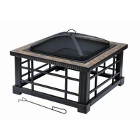 Hampton Bay Woodspire 30 in. Square Slate Steel Fire Pit-FTB-51374 - The Home Depot