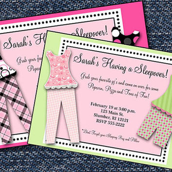 PRINTABLE Girl Pajama Party Invitations-Pajama Party Birthday Invitation-Sleepover Party Invitations-Printable