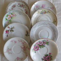 Set of 8 Mismatched China Saucers/Small plates - Bridal Shower, Tea Party, Wedding Decor