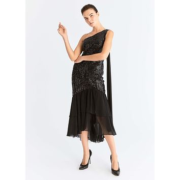 Asymmetrical Sequin Flounce Trim Dress