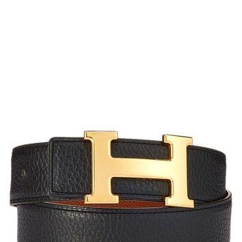 NEW HERMÈS WOMENS H BELT BUCKLE & REVERSIBLE LEATHER STRAP - HERMÈS