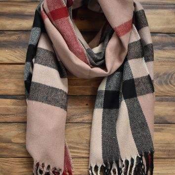 Classic Plaid Pattern Scarf, Taupe