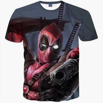 Deadpool In Action 3D T-Shirt