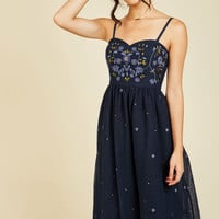 Couth and Charismatic Midi Dress in Midnight Blue