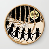 Cats & a Full Moon-Louis Wain Black Cats Wall Clock by Digital Effects