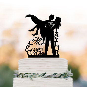 Personalized Wedding Cake topper mr and mrs,  superman wedding cake decoration. disney wedding cake topper, custom cake topper