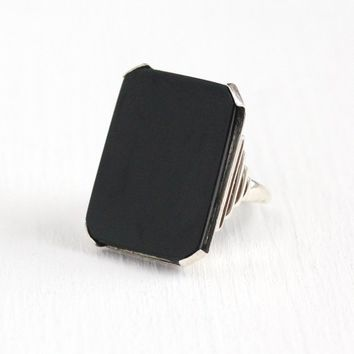 Black Onyx Ring - Vintage Art Deco Sterling Silver Black Gem Statement - 1930s Size 6 Large 11 + Carat Stone Geometric 30s Uncas Jewelry