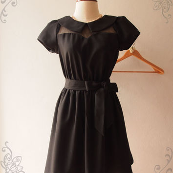 Black Collar Dress, Black Peter Pan Collar with Sleeve Long Midi Dress Fairy Tale Inspired, lbd Black Summer Dress, XS-XL,Custom