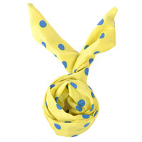Yellow Blue Vintage Polka Dot 50's Headband Rabbit Ear Wired Soft Chiffon Tie Twist Hairband Hair Band Bow Accessory