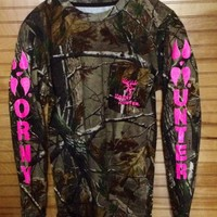 Realtree Ap LS Camo/neon pink :: T Shirts :: Horny Hunter Shirts