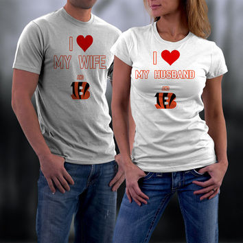 Bengals,Cincinatti Bengals Couples Shirt,  Bengals Matching Couples tshirts,I love my Husband and the Bengals Shirt,Wedding T Shirts