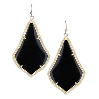 Kendra Scott Alex Black Opaque Glass Earrings 14K Gold Plated