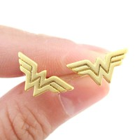 DC Heroes Wonder Woman Logo Shaped Stud Earrings in Gold | Allergy Free