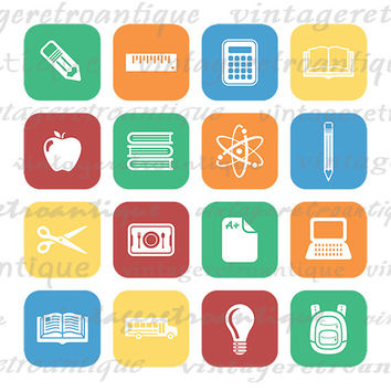 Printable School Icons Collage Sheet Graphic Digital Education Artwork Download Image Antique Clip Art for Transfers etc HQ 300dpi No.4384