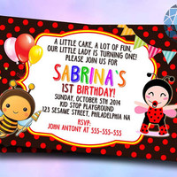 Lady Bug and Bees Design For Digital File, Birthday Invitation by SaphireInvitations