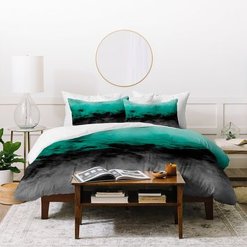 Caleb Troy Zero Visibility Emerald Duvet Cover