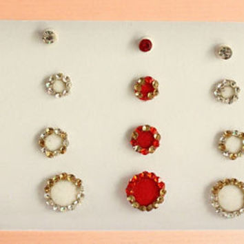 28 White And Red Face Jewels,Red Round Bindis,Velvet Colorful Bindis,Wedding Round Face Jewels Bindi,Bollywood Bindis,Self Adhesive Stickers