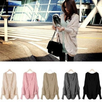Fashion Women winter Warm Batwing Sweater Coat Wool Knitted Cardigan Outwear one size