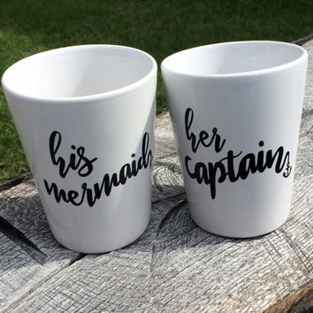 His Mermaid Mugs, Her Captain mugs, Wedding Mugs, Gifts for couples, His and Hers Mugs, Couples Mugs, Nautical cups
