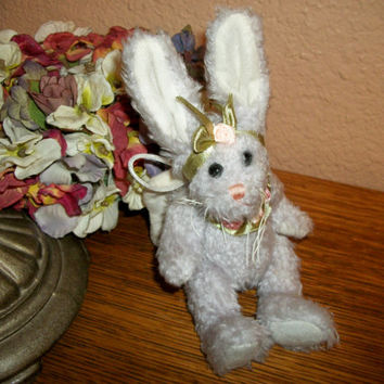 Angel Bunny Stuffed Animal Vintage Lavender Plush Rabbit Wall Hanging or Shelf Sitter Cottage Home Decor Guardian Angel