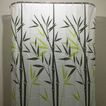 White Black Green Bamboo Leaves Shower Curtain In Polyester Fabric