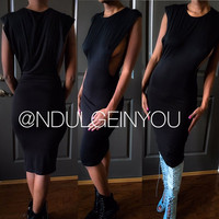 Ndulge Tanissa Muscle Tee Midi Body Con Dress